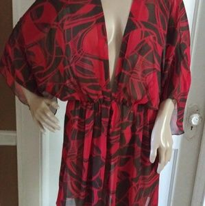 Bisou Bisou Dress red and brown sheer